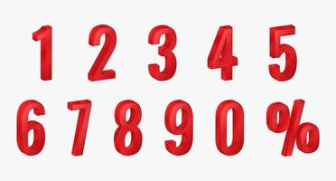 Set of 3D Red Numbers