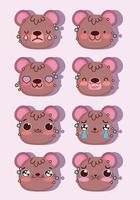Kawaii brown bear emoji faces pack vector