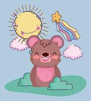 Happy Kawaii bear outdoors vector