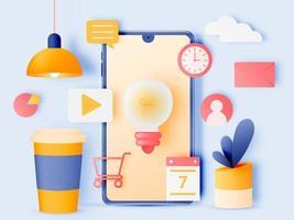 Social media marketing mobile phone elements vector