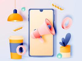 Social media marketing mobile phone concept vector