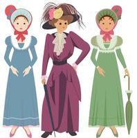 Three elegant women dressed in vintage dresses vector