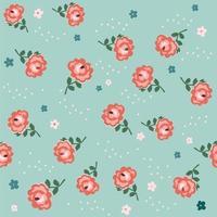 Patrón vintage transparente floral con rosas sobre fondo azul.