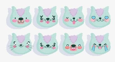 Set of green cat emojis vector