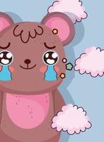 Kawaii brown bear crying vector