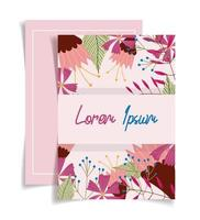 Pink greeting card floral template vector