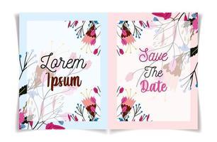 bloemen bruiloft bloemen botanische uitnodigen en bewaar datumkaarten