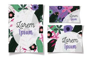 Flower and foliage stationery pack vector