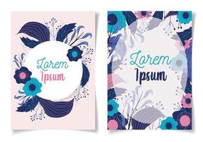 Modern floral greeting cards template vector