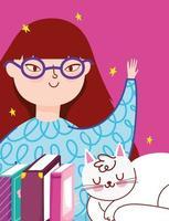 niña con libros y un gato