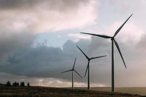 Wind turbines in field with cloudy sky