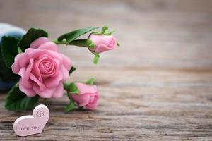 Fake pink roses photo