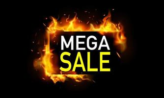 Mega sale banner with flames vector