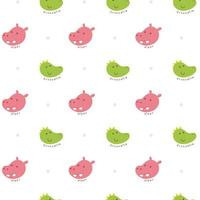 Crocodile and hippo seamless pattern vector
