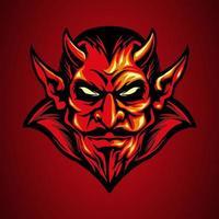 Red devil head mascot vector