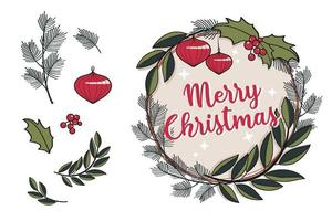 Vintage Christmas Wreath with Leaves, Red Berries, Balls and Mistletoe vector