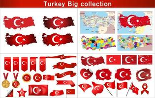 Turkey flag, map and element set vector