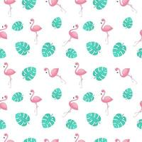 Pink flamingos with jungle leaves seamless pattern vector
