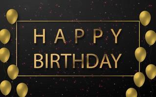 diseño de feliz cumpleaños con globos dorados