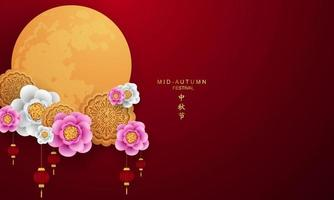 Mid-Autumn Festival design with large moon and flowers vector