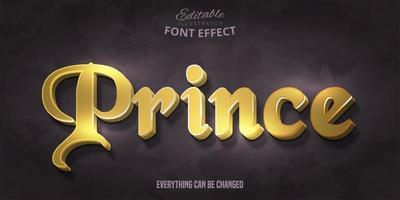 efeito de fonte editável do príncipe dourado vetor
