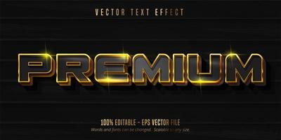 Shiny black and gold Premium text vector