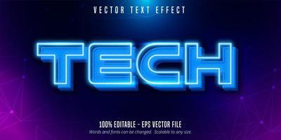 Tech text, neon style  vector