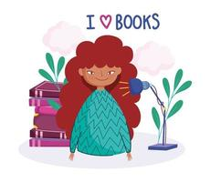 Young girl who loves books
