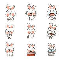 conjunto de caracteres de doodle de conejito vector