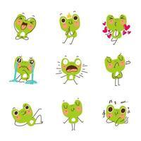 divertido juego de mascota de rana vector