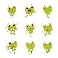 Adorable Cute Funny Frog Sticker Set vector