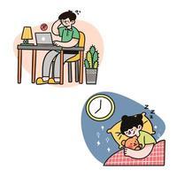 pai trabalhando enquanto a criança dorme vetor