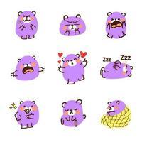lindo conjunto de doodle de emoticon de oso morado vector