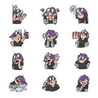 Expressive Purple Haired Girl Sticker Set vector