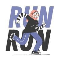 Muslim Teen Jogging  vector