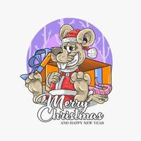 Merry Christmas design with rat Santa