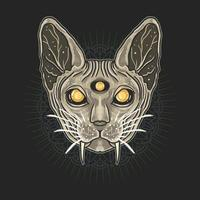 Sphynx cat head over mandala pattern vector