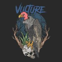 Vulture perched on skull vector
