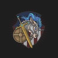 American horse knight emblem vector
