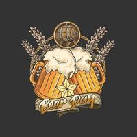 emblema do dia de cerveja com duas canecas vetor