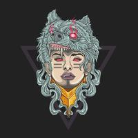 Woman soldier with wolf head vector