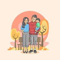 familia armoniosa disfrutando de unas vacaciones vector