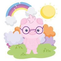 lindo cerdo con gafas al aire libre vector