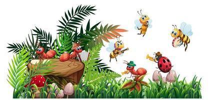 banda de música de insectos tocando en la naturaleza en hojas