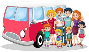 Happy family in front of car with kids vector