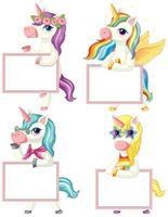 Set of unicorns holding blank banner vector
