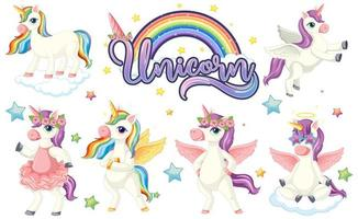 Set of colourful unicorn characters vector
