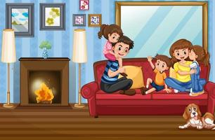 Family members at home on the couch vector