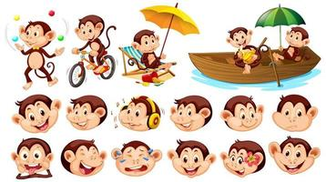 Set of monkeys with different facial expressions isolated