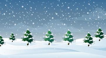 Scene with snow falling on the field vector